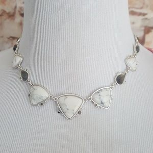 New Lucky Brand Two Tone Stone Collar Necklace